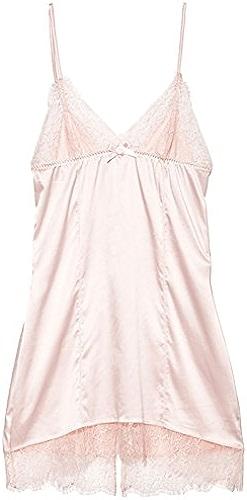 TAOTINGYAN Pyjamas en Dentelle,Nuisette Satin, Robe Nuisette Nuit V Femelle Collier Rose Robe Courte élingue Pyjama