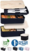 Umami ⭐ Premium Bento Lunch Box for Adults - Includes 1 Sauce Pot & Cutlery 3 Pieces - Japanese Hermetic Box - 2 Compartments - Micro-Waves & Dishwasher - BPA Free - Zero Waste