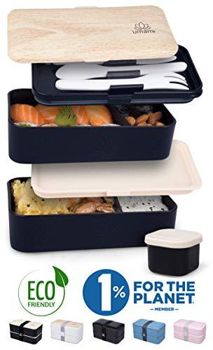UMAMI® Lunch Box Premium - Inclus : 1 Pot À Sauce & 3 Couverts - Boîte Bento Japonaise Hermétique 2 Étages - Zéro Déchet - Micro-Ondes & Lave-Vaisselle - Sans BPA - Garantie 5 Ans - Marque Française