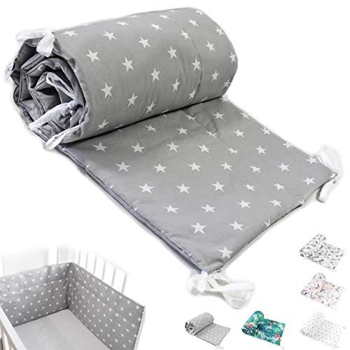 Bettumrandung Nest Kopfschutz Nestchen Babybettumrandung Bettnestchen für Babybett 70x140, 60x120 Kinderbett Beistellbett Gitterbett Handmade ekmTRADE (180x35cm, 1)