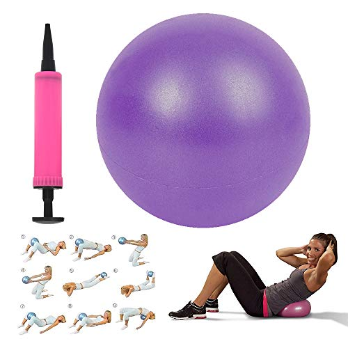 Mini Exercise Ball 10' for Yoga Pilates Barre Women, Balance Stability Training, Fitness Gym Workout Anti Burst and Non-Slip Balls with Small Inflatable Pump