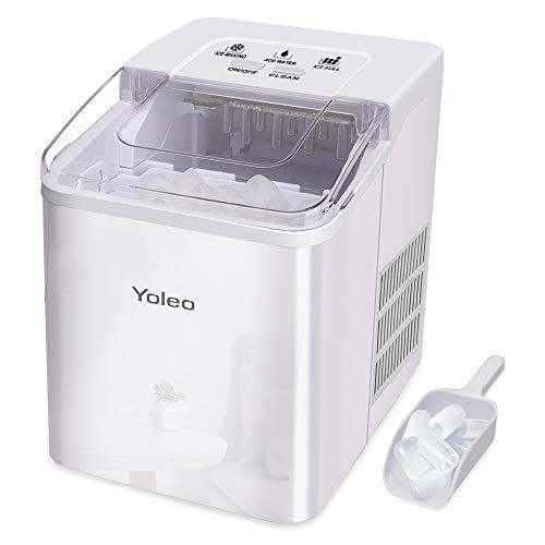 YOLEO Maquina de Hielo, Máquina para Hacer Hielo Domestica, 9 Cubitos de Hielo Listos en 8 Min, 12kg en 24H, con Pala para Hielo y Canasta, sin BPA o PFOA, Blanco