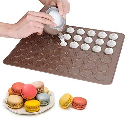 WLYX Backform-Set - Enthält Eine 48-fache Antihaft-Makronen-Backmatte Und Dekorative Stift-Zuckergussspitzen Mit 4 Düsen - Perfekt for Macarons, Dessert-Zuckerguss Und Cupcake-Zuckerguss
