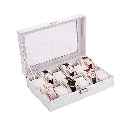 Caja de presentación de relojes Caja de reloj con cerradura con tapa de vidrio, caja de colección de relojes clásica con cojín extraíble para almacenamiento y exhibición