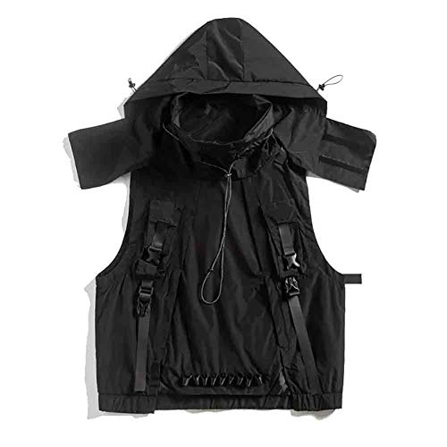 Fishing Vest, Fishing Vest Jacket Male Loose Hooded Multi-pocket Waistcoat Tooling Tactical Vest, for Camping Hunting Photography Vest Bag