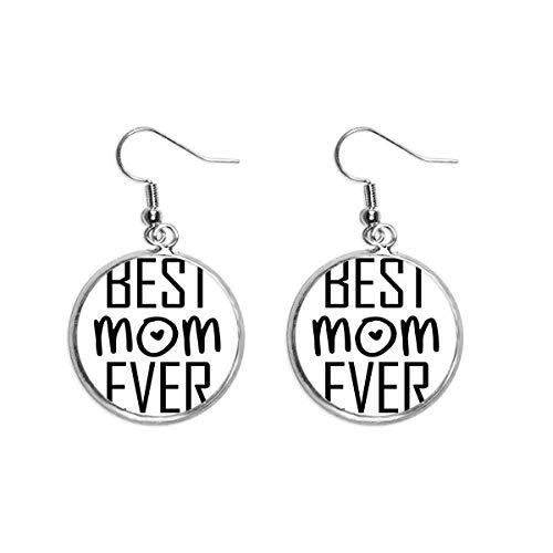 Pendientes colgantes de plata con cita para el día de la madre con texto en inglés «Best Mom Ever»