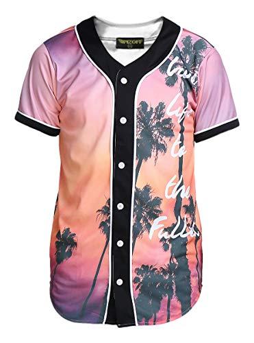 PIZOFF Short Sleeve Baseball Collar Arc Bottom 3D Sunset Print Buckle Jersey Tops Basketball Team Tee Dance T Shirt Baseball Coat Y1724-10-S