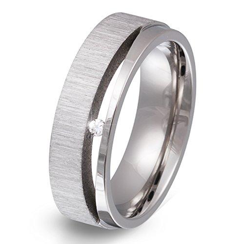 Juwelier Schönschmied - Unisex Partnerring Ehering Hochzeitsring Espacia Edelstahl Zirkonia 54 (17.2) 162Dac