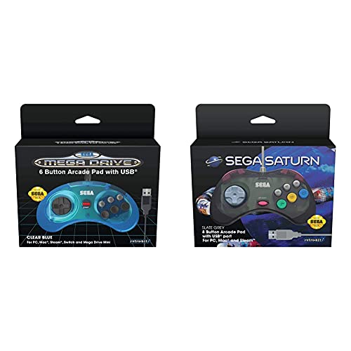 Koch Media Retro-Bit Sega - Control Pad Saturn USB Pad, Gris [Sega...