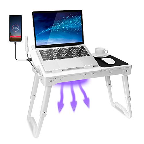 TeqHome Laptop Table for Bed, Adjustable Laptop Bed Desk with Fan, 4 USB Ports, Portable Lap Desk with Foldable Legs, Laptop Stand for Couch Sofa Bed Tray with LED Light, Storage, Mouse Pad - White