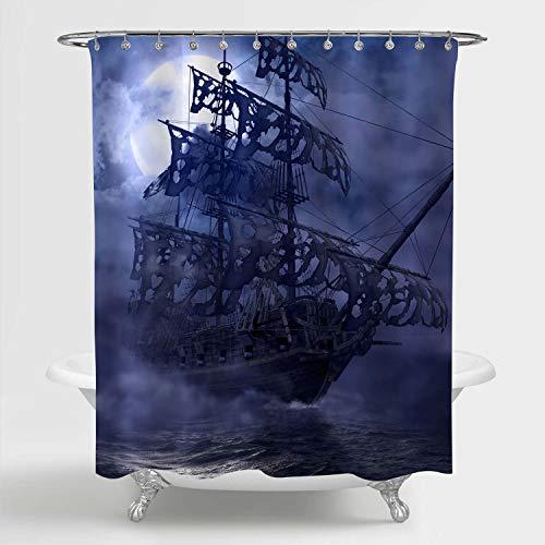 "MitoVilla Pirate Sailboat Shower Curtain for Nautical Bathroom Accessories, Flying Dutchman Ship on Ocean Wave in a Grey Foggy Full Moon Night Bathoom Decor, Nautical Gifts, Blue, 72"" W x 72"" L"