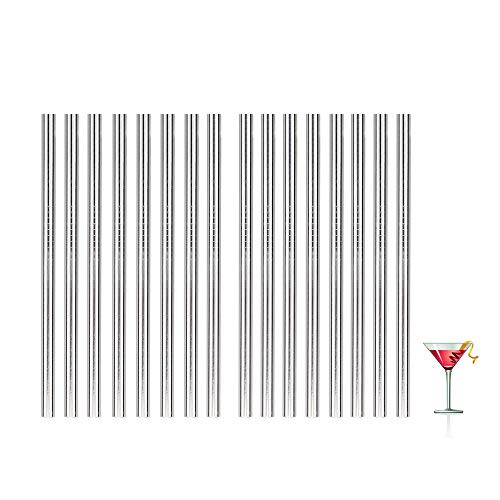 16pcs Short Metal Straws for Cocktail Glasses,Reusable Cocktai Straws with Cleaning Brushes for Party,Stainless Steel Straws for Kids