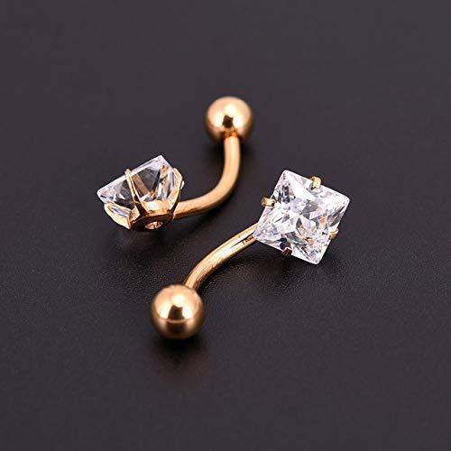 Pendientes de titanio antialérgicos, pendientes de oreja, ombligo, piercing de ombligo, estrella y corazón, joyería redonda de cristal (color metálico: cuadrado dorado)