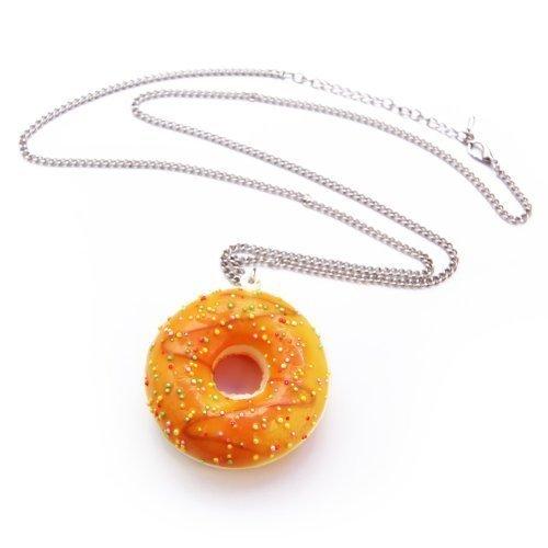 WeAreAwesome Collar de donut con glaseado glaseado, cadena de aprox. 70 cm de largo, colgante Doughnut, color: cadena de perlas amarillas