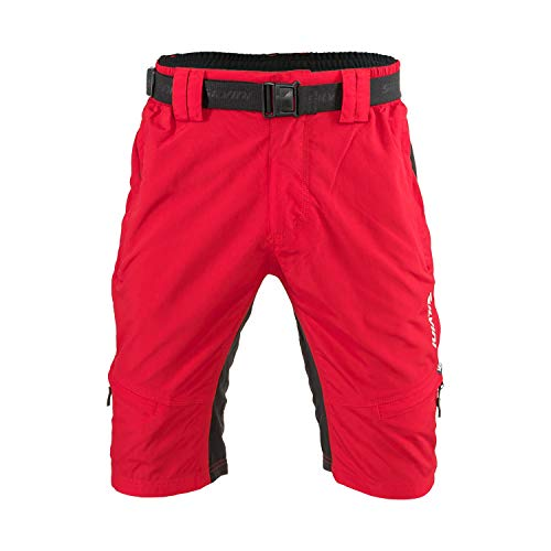 SILVINI MTB Shorts Rango with 6 Pockets for Men's Mountain Bike Cycling and All Outdoor Activities (red-Black - XXL)