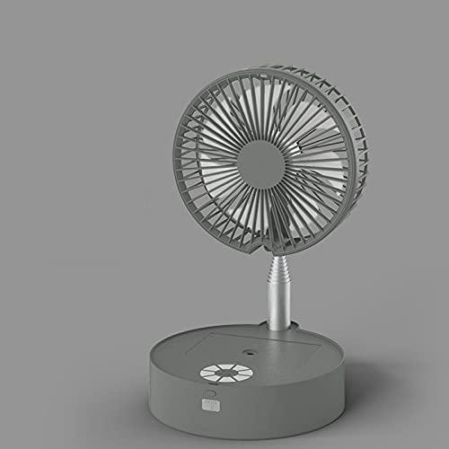 Ventilador De Pie con Mando A Distancia,Silencioso Ventilador Portatil Rotación De 180 ° Ventilador Portatil Rociador De Luz LED 7200Mah Ventilador De Escritorio Altura Regulable De Pie,Gris