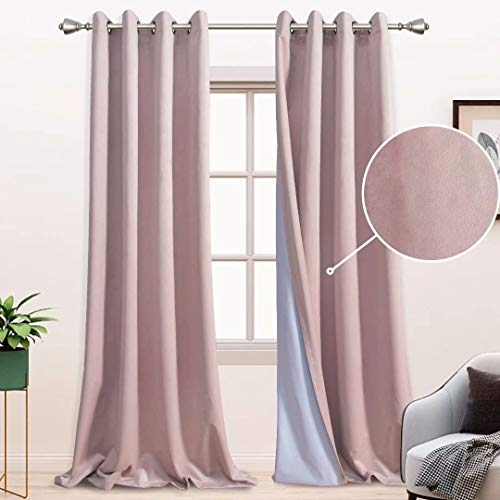 BONZER 100% Blackout Curtains for Bedroom - Premium Thick Velvet Curtains 84 Inches Long Thermal Insulated Energy Saving, Sun Light Blocking Grommet Window Drapes for Living Room, 2 Panels, Blush
