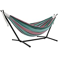 Vivere Double Cotton Hammock with Space Saving Steel Stand and Carry Bag, 450 lb Capacity (Watermelon)