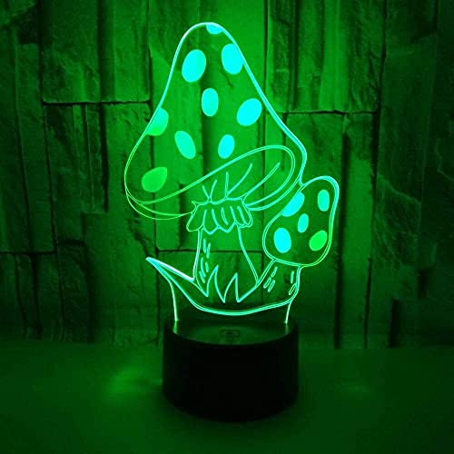 JAOSY Lovely Mushroom LED Light Colorful Gradient 3D Touch Remote USB Night Light Mesita de Noche Bellamente Decorada Regalo de Cumplea?os 20 * 13cm