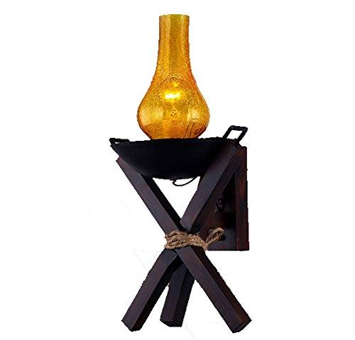 CHUANGJIE lantaarn van massief hout serie antieke wandlamp koffie creatieve romantische cafeteria landhuis retro Oro rosa + oro rosa