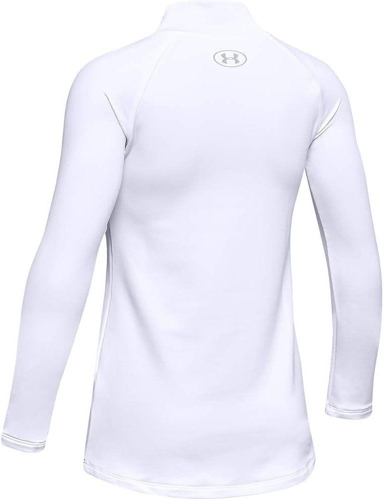 Under Armour Girls' ColdGear Long-Sleeve Mock T-Shirt , White (100)/Mod Gray , Youth Medium