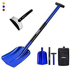 Overmont Avalanche Shovel Snow Shovel Emergency Shovel Removable Aluminum 3 pieces with a pocket and a car Ice scraper for gardening Winter car outdoors Red / Blue / Gold
