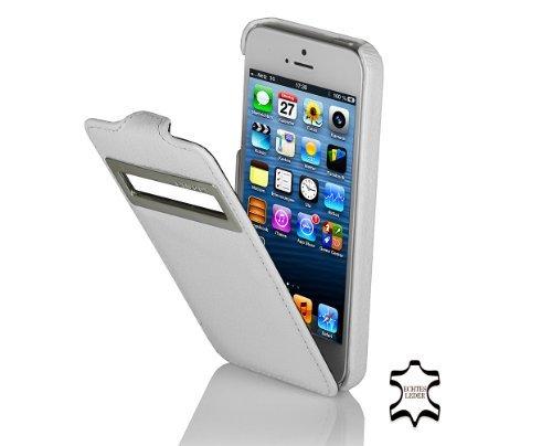 StilGut UltraSlim Case, Tasche aus Leder mit Sichtfenster (iOS 6) für Apple iPhone 5 & iPhone 5s, Weiß
