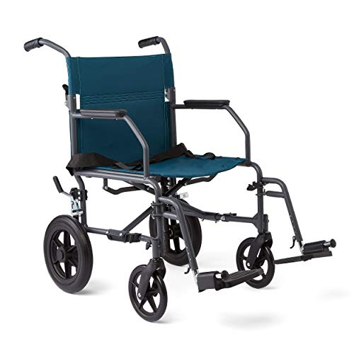 Medline Transport Wheelchair with Lightweight Steel Frame, Microban Antimicrobial Protection, Folding Chair is Portable, Large 12 inch Back Wheels, 19 inch Wide Seat, Teal