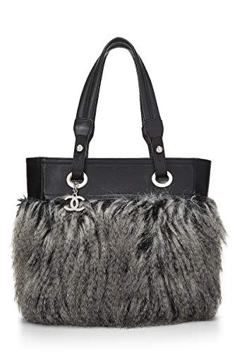 CHANEL Black Leather & Fantasy Fur Paris Biarritz Tote (Pre-Owned)