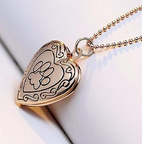 NMYANXU sieraden-halsketting met hanger in hartvorm Quellia om zelf te maken fotolijst (goud), goud.