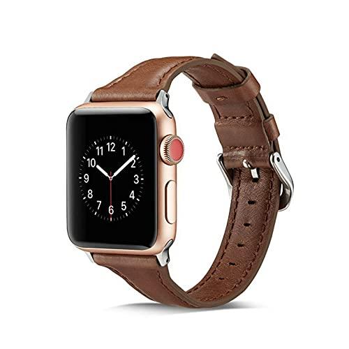 KAEGREEL Compatible con la Correa de Apple Watch para Mujeres, Hombres, Correa de Cuero Premium de Banda Suave y Delgada Compatible con Apple Watch Series 6 5 4 3 2 1,42mm/44mm