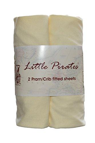 Little Pirates Lot de 2 draps-housse en jersey pour landau/couffin/berceau 100% coton Crème 40 x 90 cm