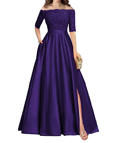 Prom Dress Long Evening Formal Dress Slit Prom Gown Off The Shoulder Regency 12