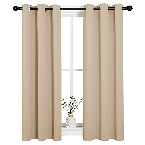 NICETOWN Room Darkening Curtain Panels for Living Room, Thermal Insulated Grommet Room Darkening Draperies/Drapes for Window (Biscotti Beige, 2 Panels, W29 x L45 -Inch)