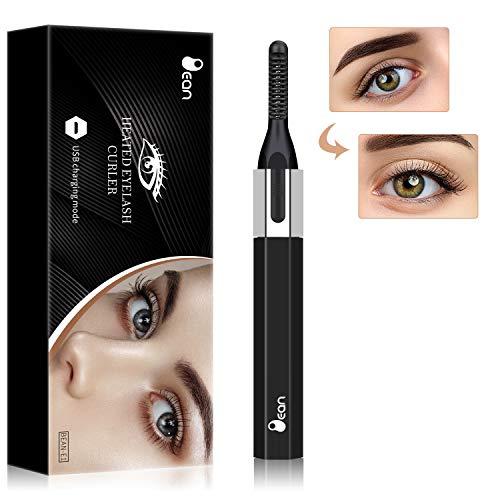 Heated Eyelash Curler, Electric Eyelash Curler, Eyelash Curler for Quick Natural Eye Lashes Curling USB Rechargeable, Lash Curler for Durable Shape, Safe and Worry-free (Black)