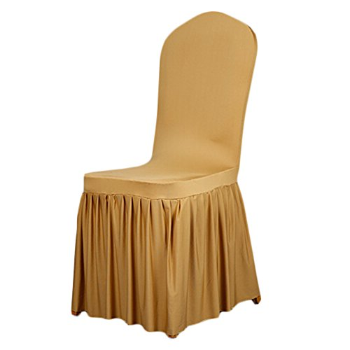 SoulFeel 1 x Long Stretch Spandex Dining Chair Cover Protectors, Super Fit Banquet Chair Seat Slipcovers Hotel Wedding Ceremony, Removable & Washable (Gold)