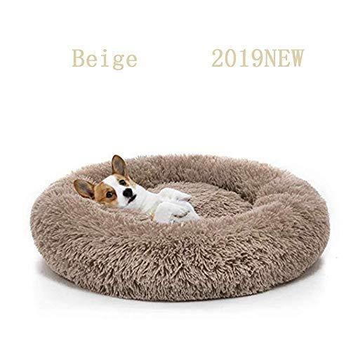 Miaosss Luxe huisdierbed van synthetisch pluche met donut Cuddler, kattenbed, warme slaapbank van pluche voor puppy's van hond 120 cm Beige