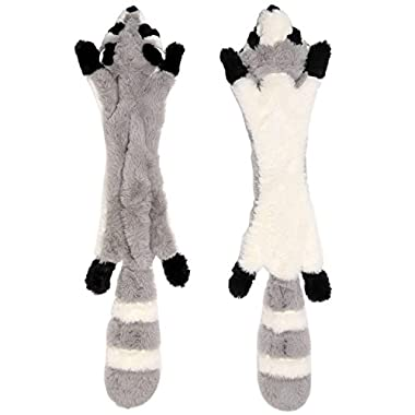 Stuffingless Dog Toys with Squeaker, Stuffless Dog Chew Toys of Plush Squeaky Raccoon Dog Toy No Stuffing Dog Toys for Large Dog Hunting 24-Inch