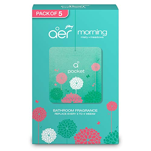 Godrej aer Pocket, Bathroom Air Fragrance - Morning Misty Meadows (Pack of 5)