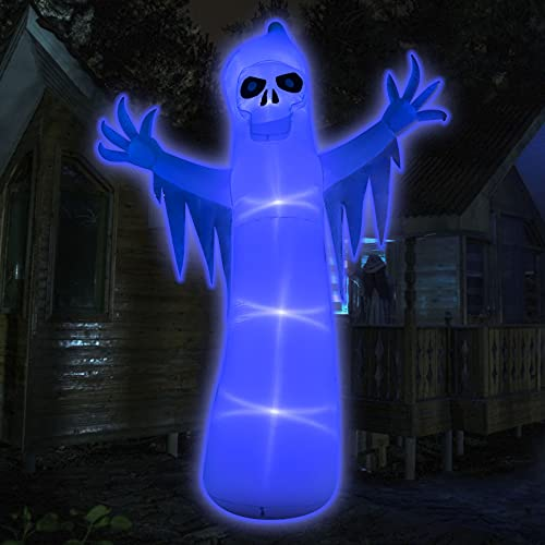 HOOJO 12Ft Halloween Inflatables Ghost Decorations with LED Lights, Lighted Glowing Outdoor Halloween Blow up Yard…