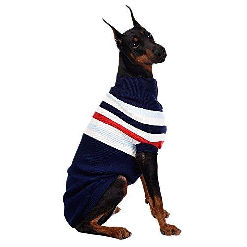 ASOCEA Rayas clásicas suéter Invierno Calor Mascotas Ropa Ropa para Perros para Perros Mediano y Grande Grandes