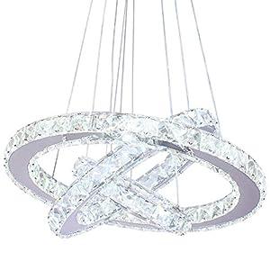 Modern Crystal Chandeliers LED Chandelier Pendant Lighting Dinning Room Adjustable Ceiling Fixtures Stainless Steel 3 Rings Chandelier,Cool White