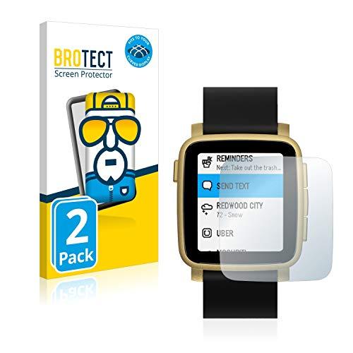 BROTECT Full-Cover Schutzfolie kompatibel mit Pebble Time 2 (2 Stück) - Full-Screen Bildschirmschutz-Folie, 3D Curved, Kristall-Klar