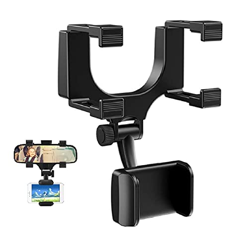 360° Rearview Mirror Phone Holder,Universal Car Rear View Mirror Mount Holder,Mobile Phone Mounts & Stands,Car Rear View Mirror Accessories fits All Cell Phones (1PC)