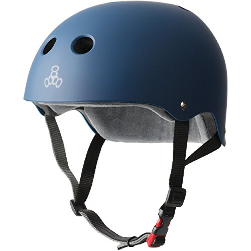 Purchase Triple Eight THE Certified Sweatsaver Helmet for Skateboarding, BMX, and Roller Skating, Navy Rubber, X-Small / Small