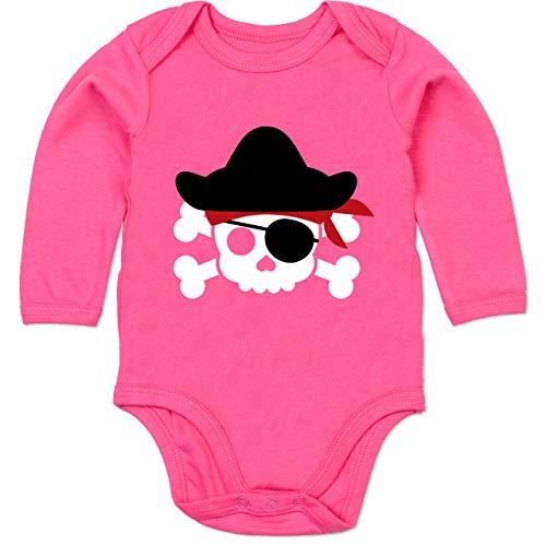 Shirtracer Karneval und Fasching Baby - Piratenkopf Kostüm - 3/6 Monate - Fuchsia - Karneval kostüm Baby - BZ30 - Baby Body Langarm