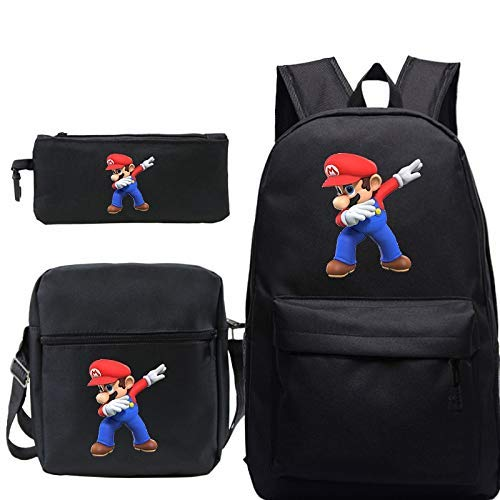 Super Mario Rucksack 3Pcs / Sets Dab Super Mario Rucksäcke Teenage Reisetasche Mädchen Jungen Schule Bagpack mit Netter Bleistift-Kasten-Umhängetasche WTZ012