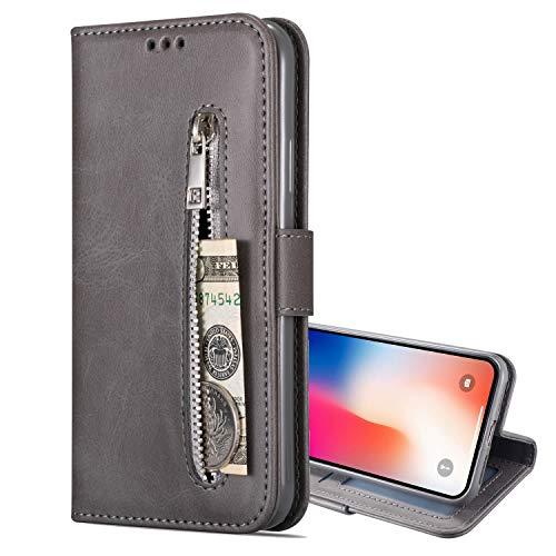 Nadoli Lederhülle für Samsung Galaxy A12 5G,Stilvoll Reißverschluss Entwurf Pu Leder Magnetverschluss Standfunktion Kartenfächer Brieftasche Handyhülle Etui mit Lanyard