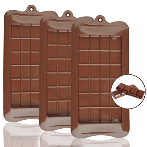 CJMM Silikon-Schokoladenform, lebensmittelecht, Antihaftbeschichtung, BPA-frei, Süßigkeiten, Proteine und Engery Bar, 3 Stück
