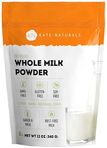 Whole Dry Milk Powder for Baking and Coffee - Kate Naturals. Made In USA. Dried Powered Milk RBST-Free. Great Substitute For Liquid Milk. Large Resealable Bag (12oz)